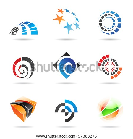 Various colorful abstract icons isolated on a white background - stock vector