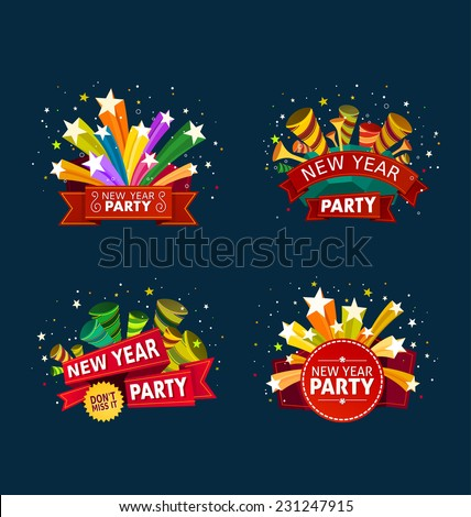 various colorful banner and tittle template for new year party event - stock vector