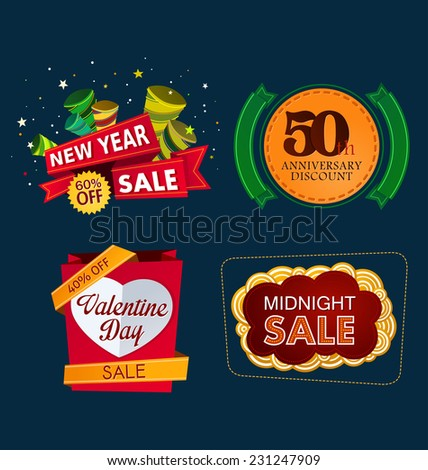 various colorful banner and tittle template for sale event - stock vector