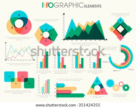 Various colorful Business Infographic elements including statistical graphs and charts for your professional reports presentation. - stock vector