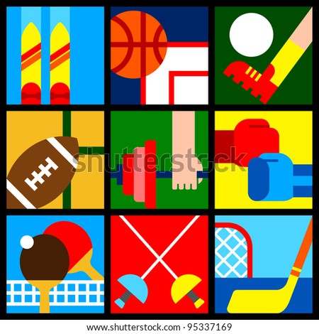 various colorful sport symbols - stock vector