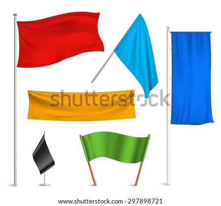 Various colors flags and banners pictograms collection with black racing and blue half-staff hoisted abstract vector illustration - stock vector