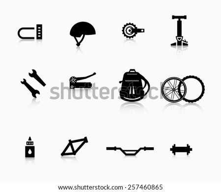 Various components and accessories for the bike. A set of accessories for the modern bicycle. - stock vector