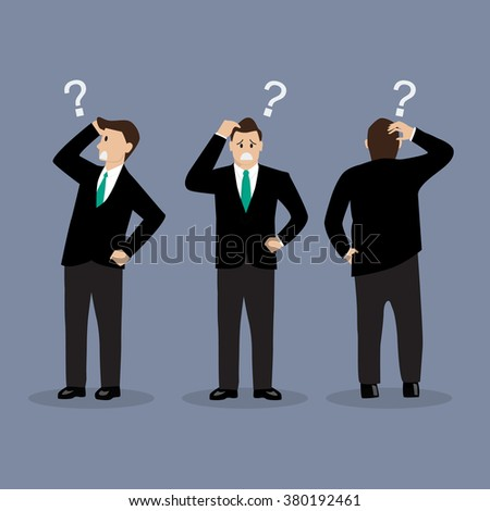 Various confused businessman. Vector illustration - stock vector