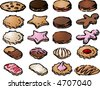 Various cookie icons hand drawn look.  You can mix and match your own designs by changing colors and elements.  Vector isometric illustration - stock vector