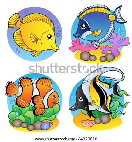 Various coral fishes - vector illustration. - stock vector