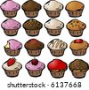 Various cupcake cons lineart sketch; mix and match colors and toppings to make your own cupcakes - stock vector