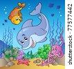 Various cute animals at sea bottom - vector illustration. - stock vector