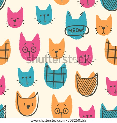 various cute colorful cats seamless pattern - stock vector
