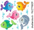Various cute fishes collection 3 - vector illustration. - stock photo