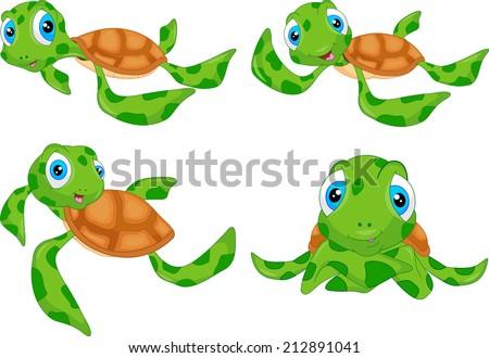 various cute sea turtle cartoon  - stock vector