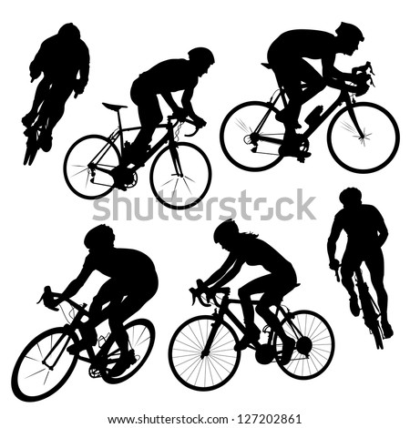 Various cycling poses in black and white silhouettes. Different angle views of cyclists from men and women. - stock vector