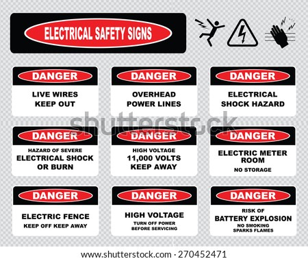 stock vector various danger sign electrical safety signs live wires overhead power lines electrical shock 270452471 safety signs stock images, royalty free images & vectors live wire safety harness hunting at alyssarenee.co
