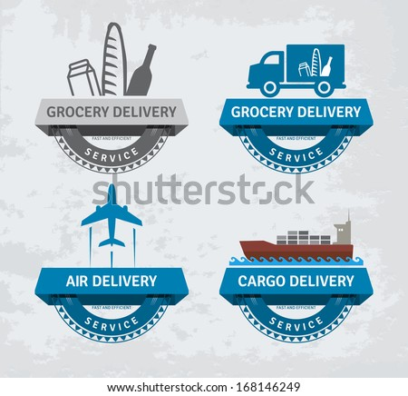 Various delivery labels. EPS10. - stock vector