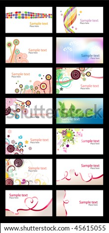 Various different business cards on white background