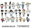various different cartoon people collection - stock vector
