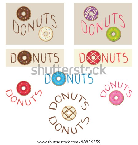 Various donuts signboards - stock vector