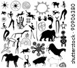 Various drawings - primitive art - cave paintings - vector - stock photo