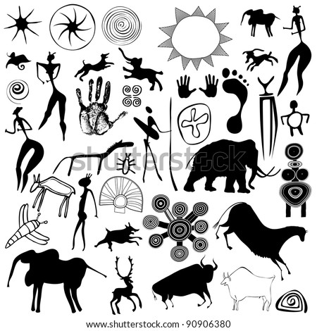 Various drawings - primitive art - cave paintings - vector - stock vector