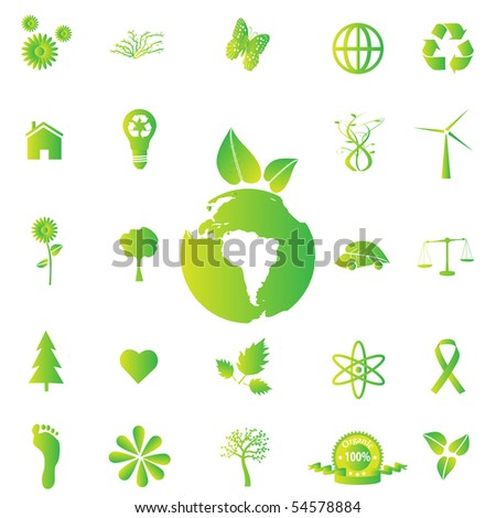 Various eco-friendly green icons. - stock vector