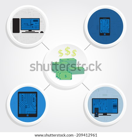 Various electronic equipment around a pile of money. Electronic equipment and money - stock vector
