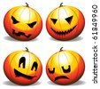 Various expressions of a pumpkin - stock