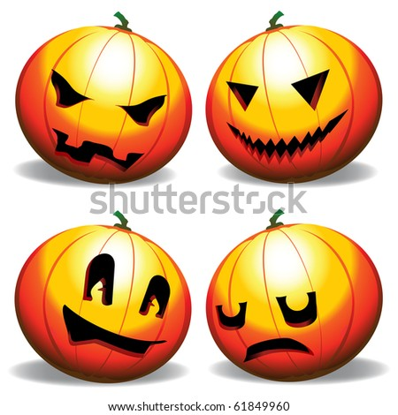 Various expressions of a pumpkin - stock vector