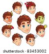 Various expressions of boy. Funny cartoon and vector isolated characters - stock photo