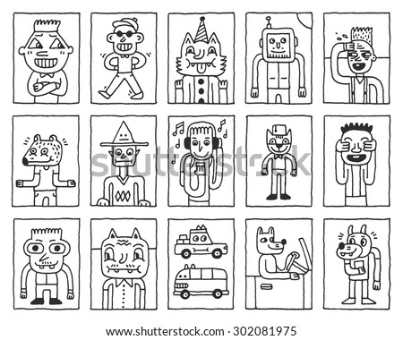 Various Fantastic Funny Characters. Wacky Doodle Cards Set 1. Vector Hand Drawn Illustration.  - stock vector