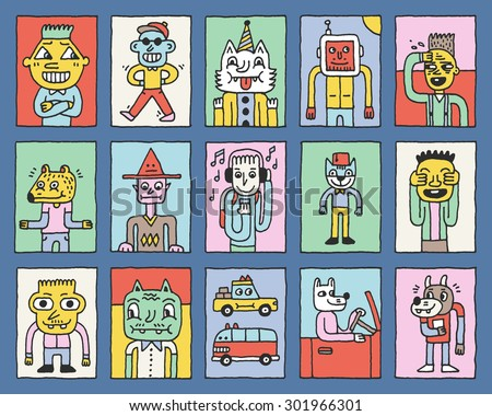 Various Fantastic Funny Characters. Wacky Doodle Color Cards Set 1. Vector Hand Drawn Illustration.  - stock vector
