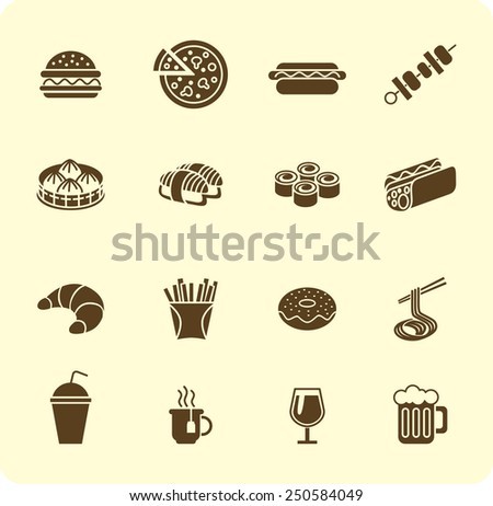 Various fast food and drink icon silhouette set - stock vector