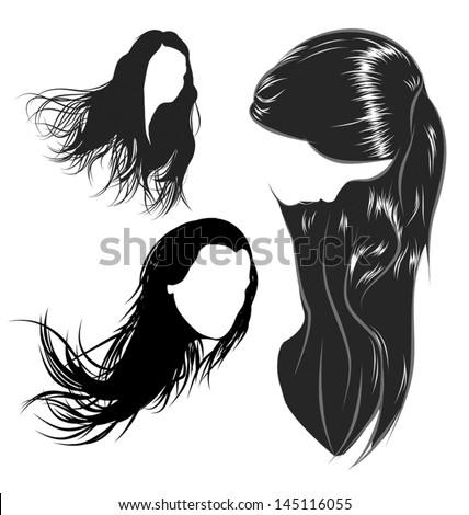 vector hair style stock hair silhouette stock images royalty free images 6515 | stock vector various female hair styles and heads of women 145116055