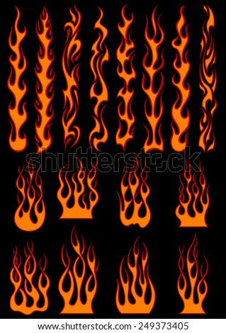 Various fiery vector tribal flames in colorful orange on black including long trails suitable as depicting speed - stock vector