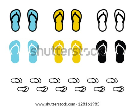 Various Flip Flop in Blue, Yellow and Black. - stock vector