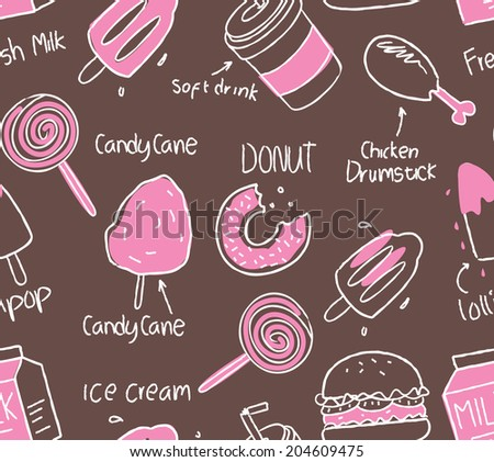 various food and drink seamless background - stock vector
