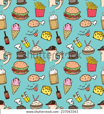 various food background in doodle style - stock vector