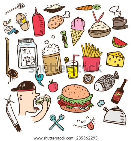 various food on doodle style