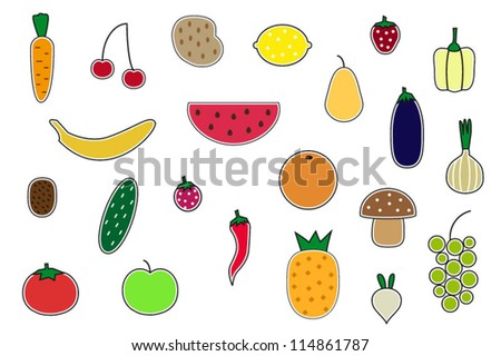 Various fruits and vegetables icons collection