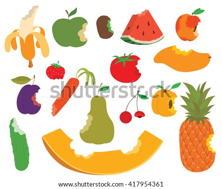 Various fruits bite, eaten apple shape vector and sweet fruit bite food. Food healthy isolated fresh apple fruit bite and diet juicy, green delicious fruit bite eat dessert nutrition. Fruit bite. - stock vector
