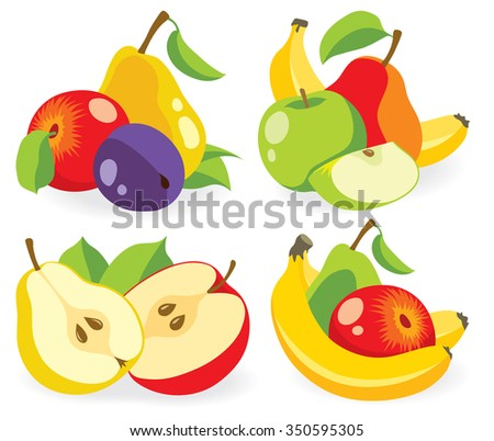 Various fruits (cut apples, pears, banana and plums) isolated on white background, collection of vector illustrations - stock vector