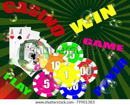 Various gambling and casino elements, vector illustration - stock vector