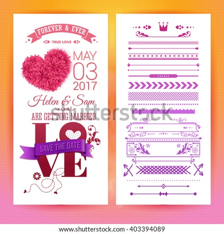 Various getting married love stationery objects with placeholder text, extra icons, frames and borders over orange and pink background - stock vector
