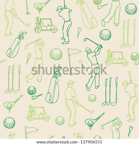 Various golf images & player seamless pattern - stock vector