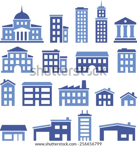 Various government, office and residential buildings.  - stock vector