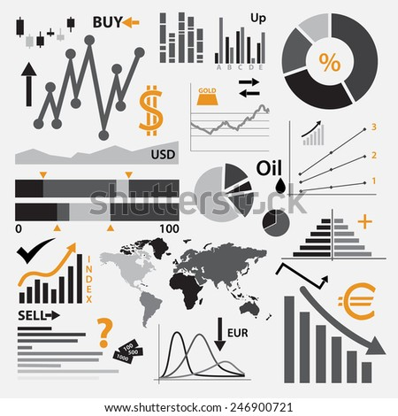various graphs for your business or stock market eps10 - stock vector