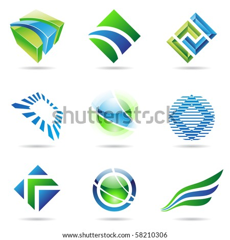 Various green and blue abstract icons isolated on a white background - stock vector