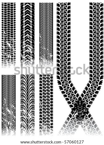 various grunge tire track collection - stock vector