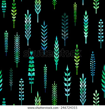 Various hand-drawn leaves on black background. - stock vector