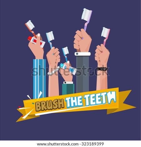 various hand with toothbrush. brushing the teeth concept. healthy teeth - vector illustration - stock vector