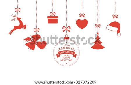 Various hanging Christmas ornaments such as Christmas bauble, santa hat, reindeer, angel, heart, present and Christmas tree with a ribbon forming a versatile border isolated on white. - stock vector